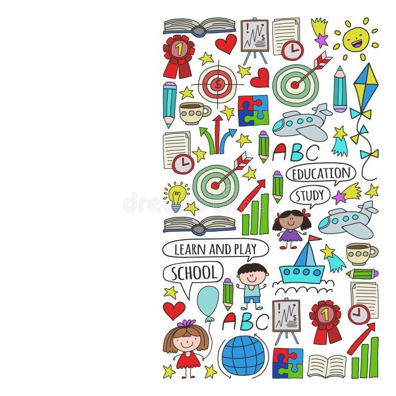 传染媒介套学会英语语言,孩子\'在乱画样式的s画的象 绘,五颜六色,在pape片断的图片  向量例证