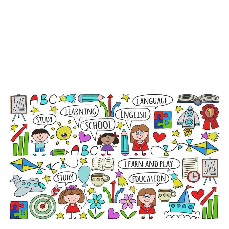 传染媒介套学会英语语言,孩子\'在乱画样式的s画的象 绘,五颜六色,在pape片断的图片  皇族释放例证