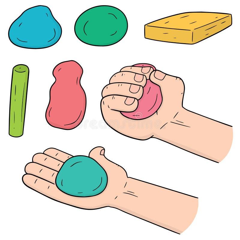 传染媒介套孩子的黏土 向量例证