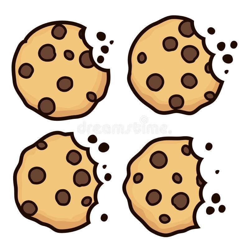 传染媒介套巧克力片被咬住的曲奇饼 皇族释放例证