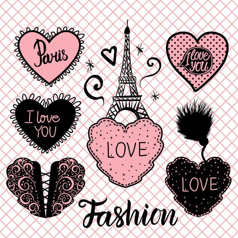 传染媒介套心脏手凹道和在桃红色渔网贴身衬衣无缝的样式的埃佛尔铁塔 向量例证