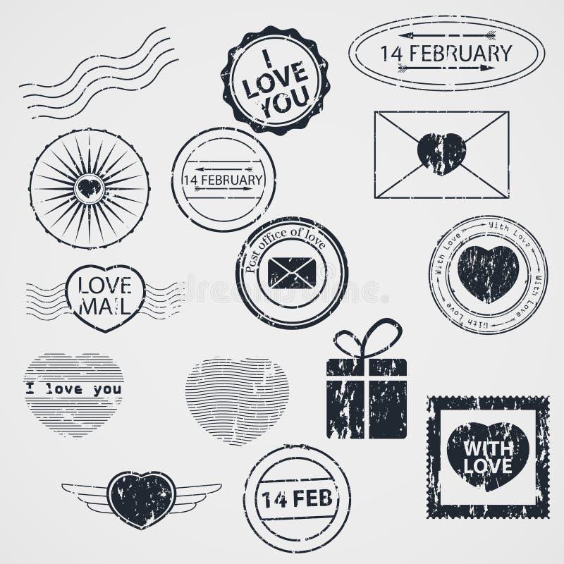 传染媒介套情人节邮票 库存例证