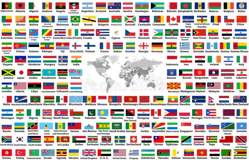 传染媒介套所有世界旗子在白色背景以字母顺序安排了隔绝 与国名和bord的世界地图 皇族释放例证
