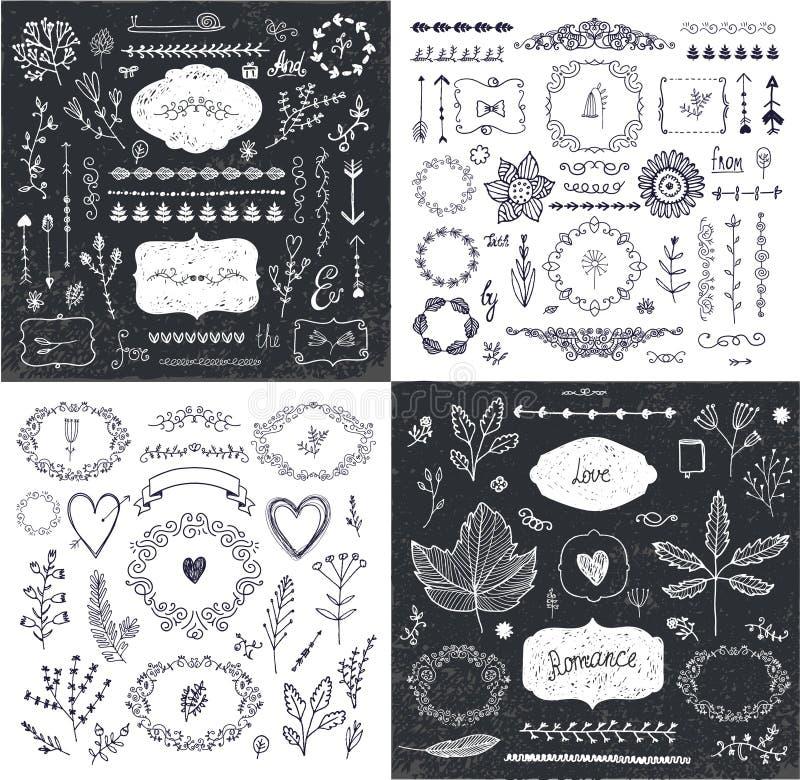 传染媒介套手拉的乱画分支,框架,边界,月桂树 线性浪漫婚姻的收藏,图形设计 库存例证