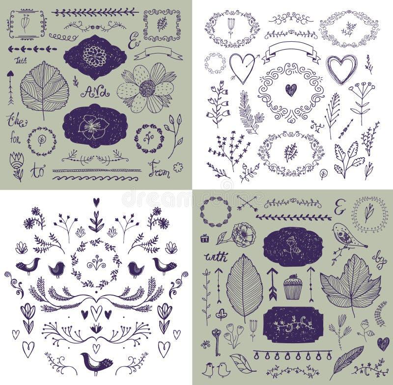 传染媒介套手拉的乱画分支,框架,边界,月桂树 线性浪漫婚姻的收藏,图形设计 皇族释放例证