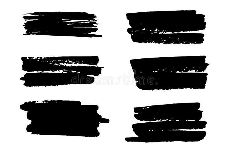 传染媒介套手拉的刷子冲程和污点 一种颜色单色艺术性的手拉的背景 向量例证