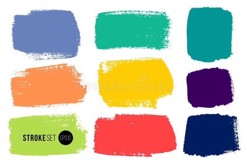 传染媒介套手拉的刷子冲程,背景的水平的污点 多颜色设计元素集 i 向量例证