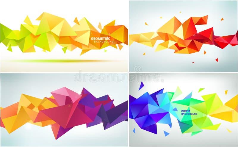 传染媒介套抽象几何小平面形状 横幅、网、小册子、广告、海报等等的用途 低多现代样式 向量例证
