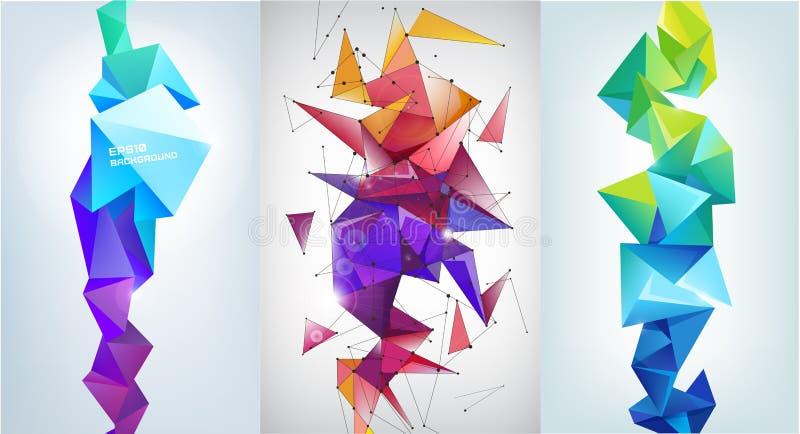 传染媒介套抽象垂直的小平面横幅,3d水晶形状 皇族释放例证