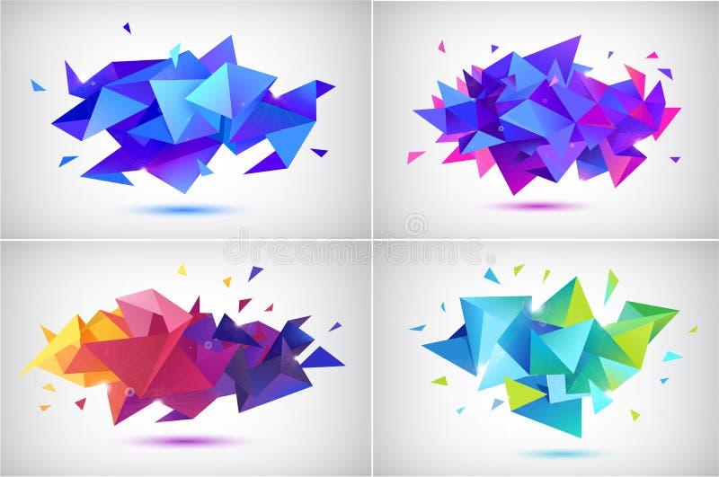 传染媒介套抽象小平面3d形状,几何横幅 低多三角海报,现代概念背景 向量例证