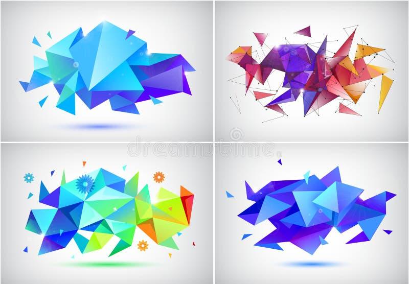 传染媒介套抽象小平面3d形状,几何横幅 低多三角海报,现代概念背景 库存例证