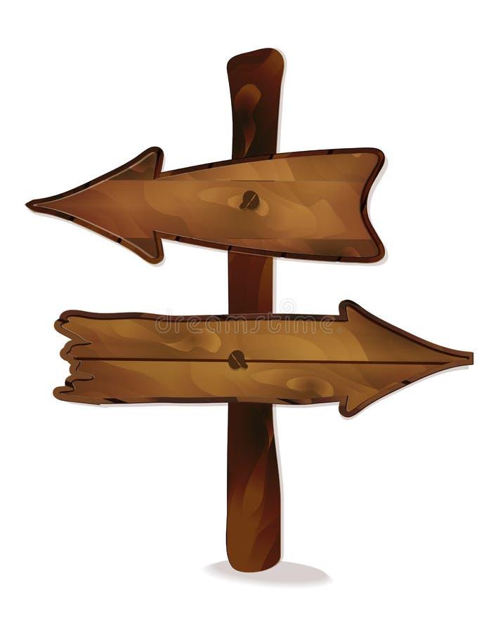 传染媒介套文本的木标志在白色背景 皇族释放例证