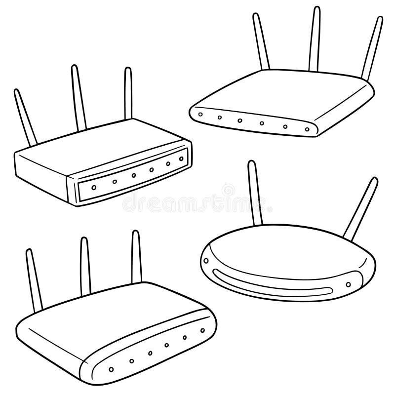 传染媒介套无线路由器 库存例证