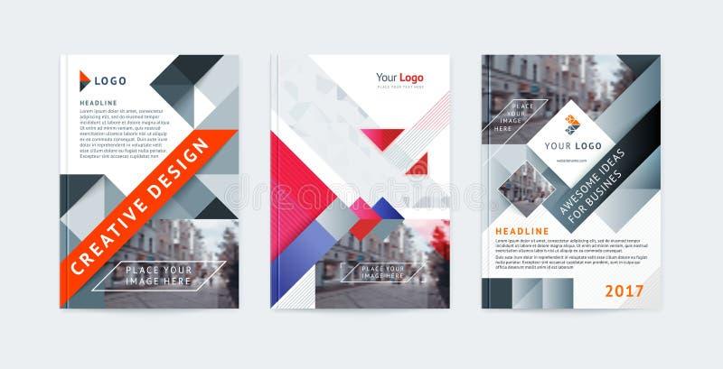传染媒介套模板小册子盖子设计、海报、杂志、小册子、飞行物A4与商标,地方照片的和文本 向量例证