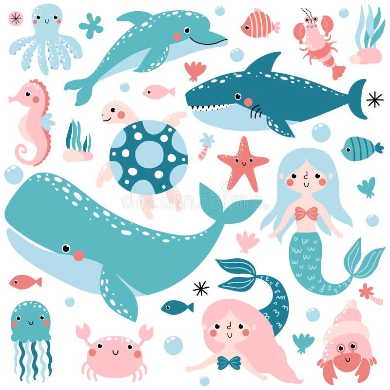 传染媒介套水下的动物和美人鱼 库存例证