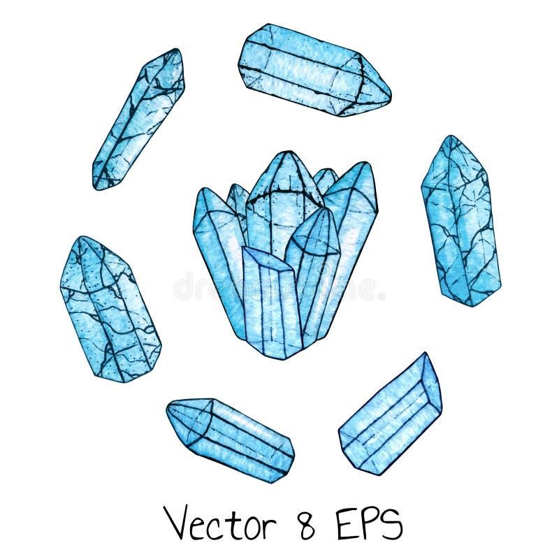 传染媒介套水彩和墨水手画蓝色宝石和在白色背景隔绝的一个小组水晶 皇族释放例证