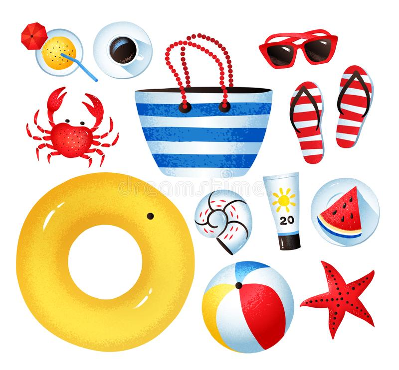 传染媒介套海边假日项目 向量例证