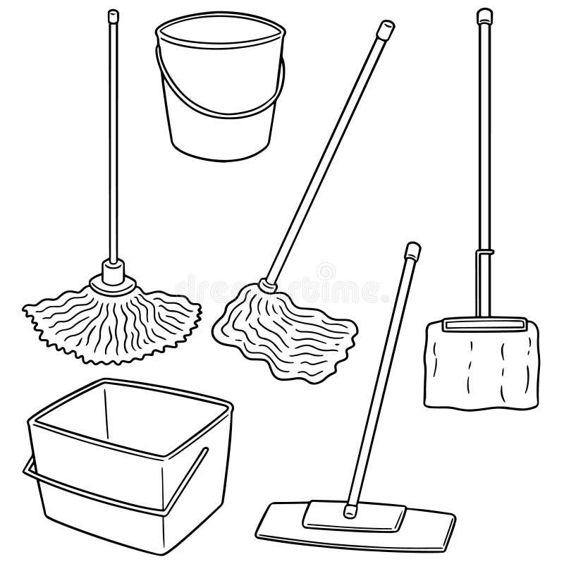 传染媒介套清洁拖把 库存例证