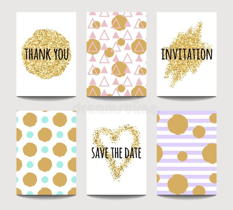 传染媒介套爱卡片为与金黄闪耀的作用的婚姻和华伦泰` s天 向量例证