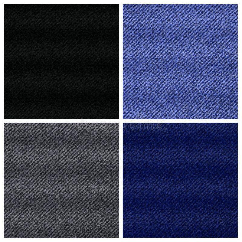 传染媒介套牛仔裤或牛仔布纹理的四个不同版本 向量例证