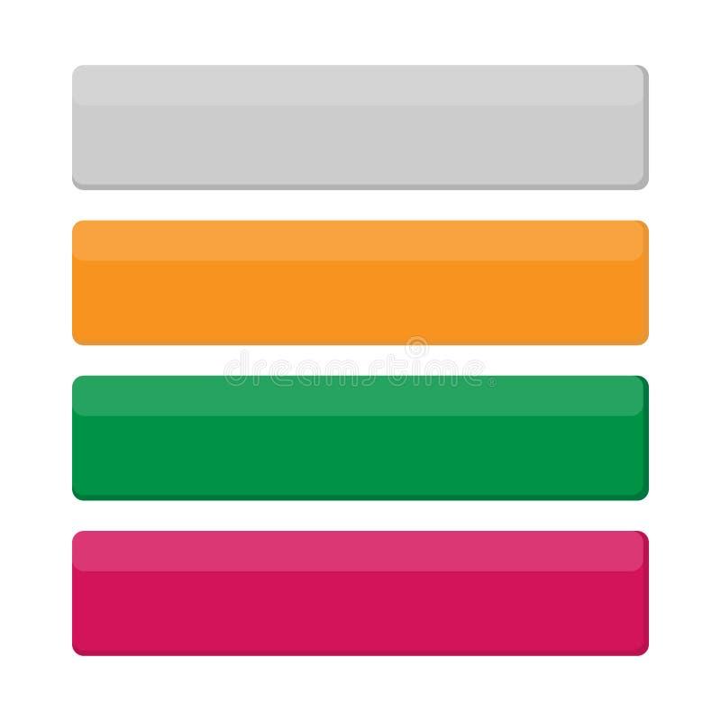 传染媒介套现代梯度应用程序或比赛按钮 用户界面有箭头的网按钮 向量例证