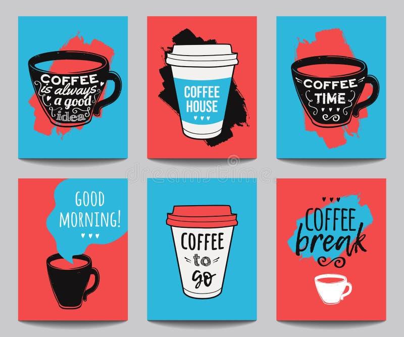 传染媒介套现代海报有咖啡背景 飞行物的,横幅,邀请,餐馆时髦行家模板 皇族释放例证