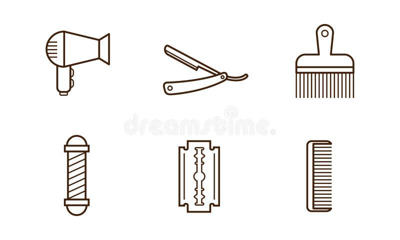 传染媒介套理发店对象 吹风器、刀片、梳子、手工剃刀和理发师杆 线性的图标 向量例证
