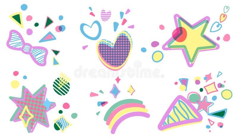 传染媒介套生日聚会装饰设计元素 简单的平的动画片象设计 星,心脏,景气 皇族释放例证