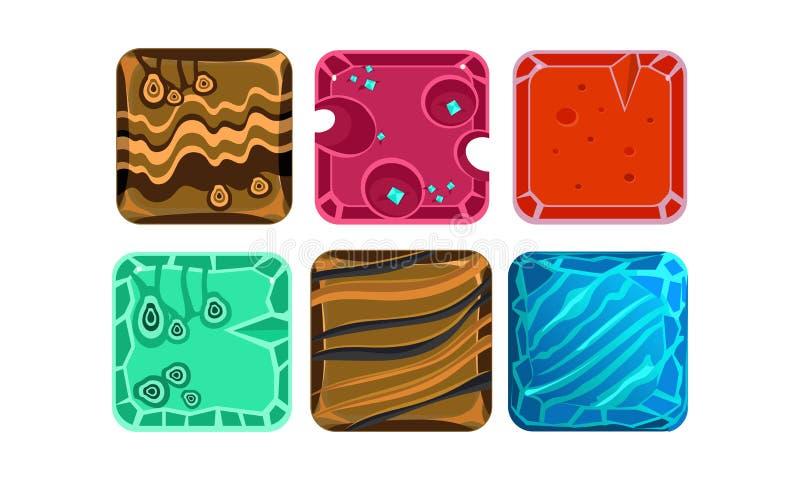 传染媒介套用不同的纹理的6个方形的瓦片流动比赛的 赌博财产 光滑的宝石和冰水 库存例证