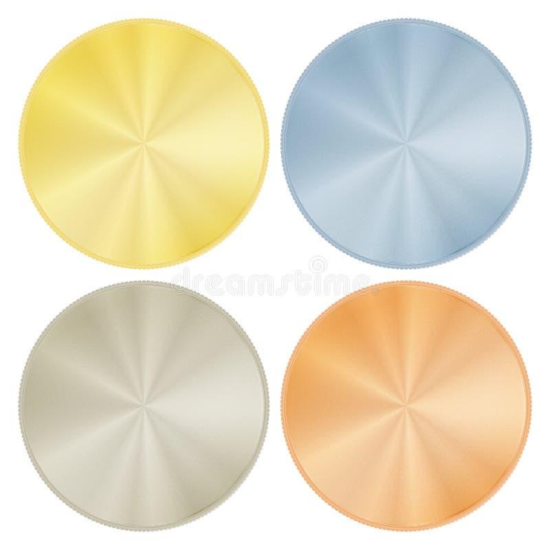 传染媒介套空白的圆的奖牌由金白金银古铜金属制成 库存例证