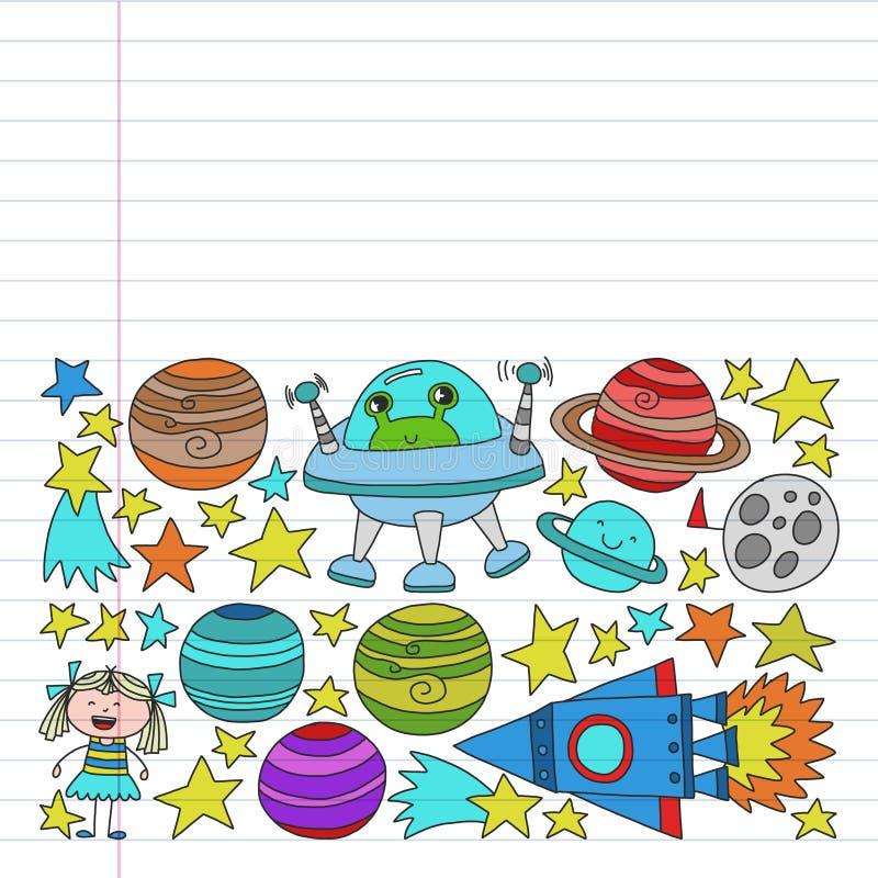 传染媒介套空间在乱画样式的元素象 绘,五颜六色,在线性纸张的图片在白色背景的 向量例证
