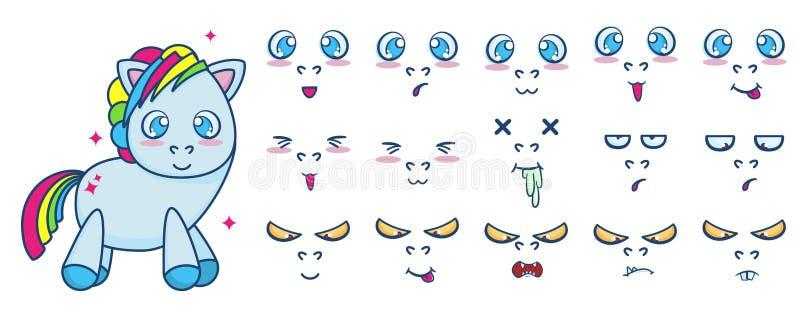 传染媒介套站立用不同的面孔情感的逗人喜爱的小马 皇族释放例证