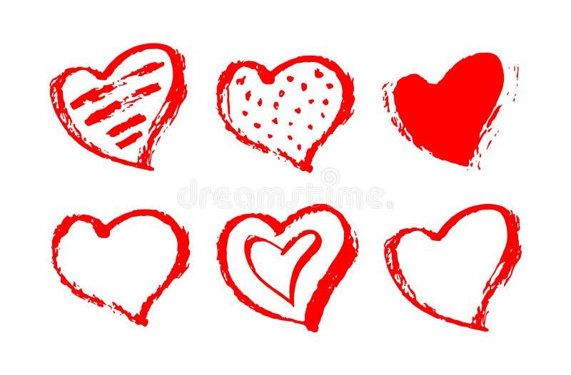 传染媒介套红色心脏形状 手拉的心脏框架和邮票 在白色背景隔绝的农庄红色刷子绘画 Valent 向量例证