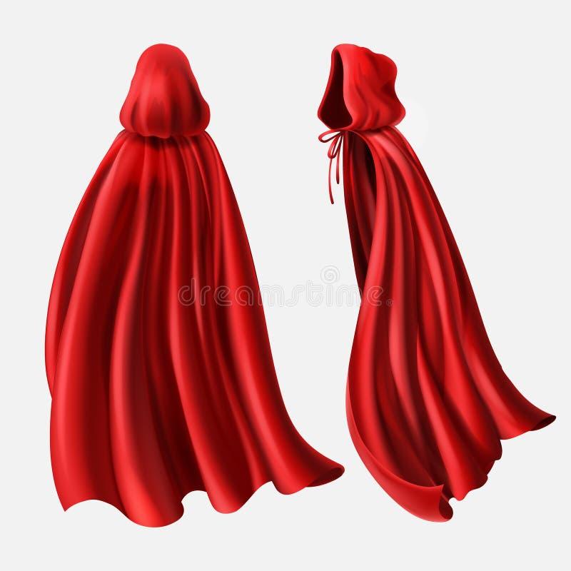 传染媒介套红色斗篷,流动的丝织物 库存例证