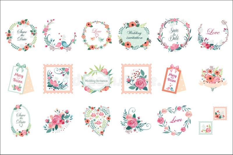 传染媒介套美好的花卉框架、边界和标签 日期保存 婚姻的邀请的图表元素 向量例证