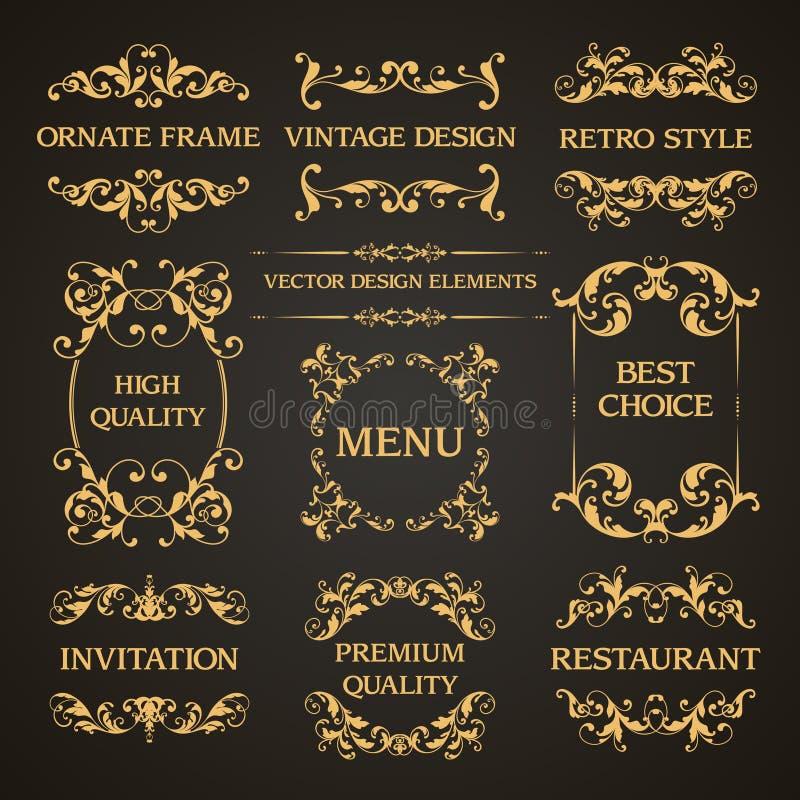 传染媒介套葡萄酒典雅的装饰装饰页装饰构筑邀请的边界书法设计元素, 库存例证