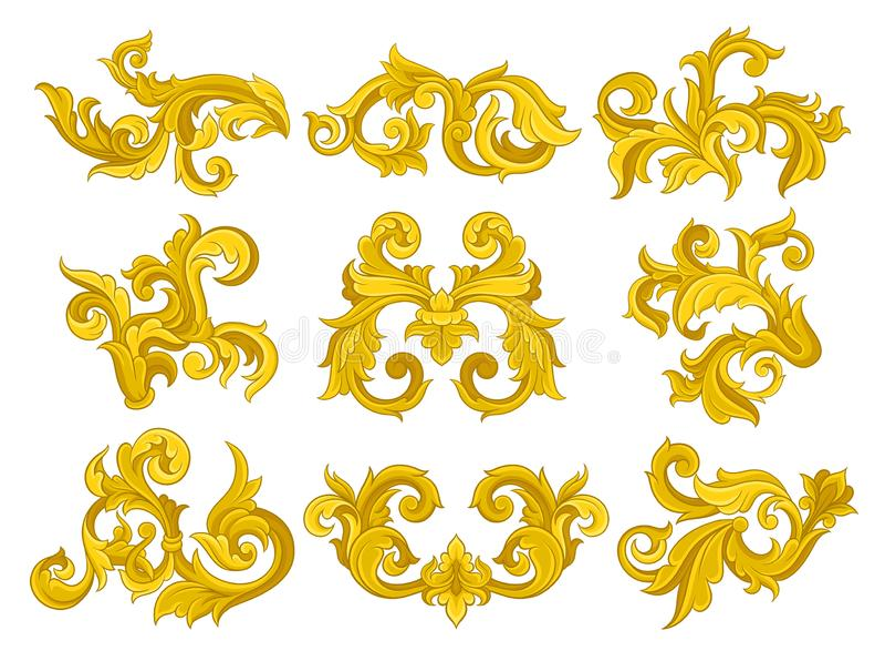 传染媒介套葡萄酒巴洛克式的装饰品 在维多利亚女王时代的样式的典雅的花卉样式 豪华装饰元素 库存例证