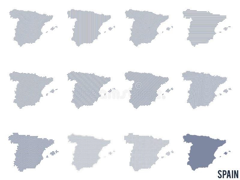 传染媒介套西班牙的抽象地图用不同的样式 皇族释放例证