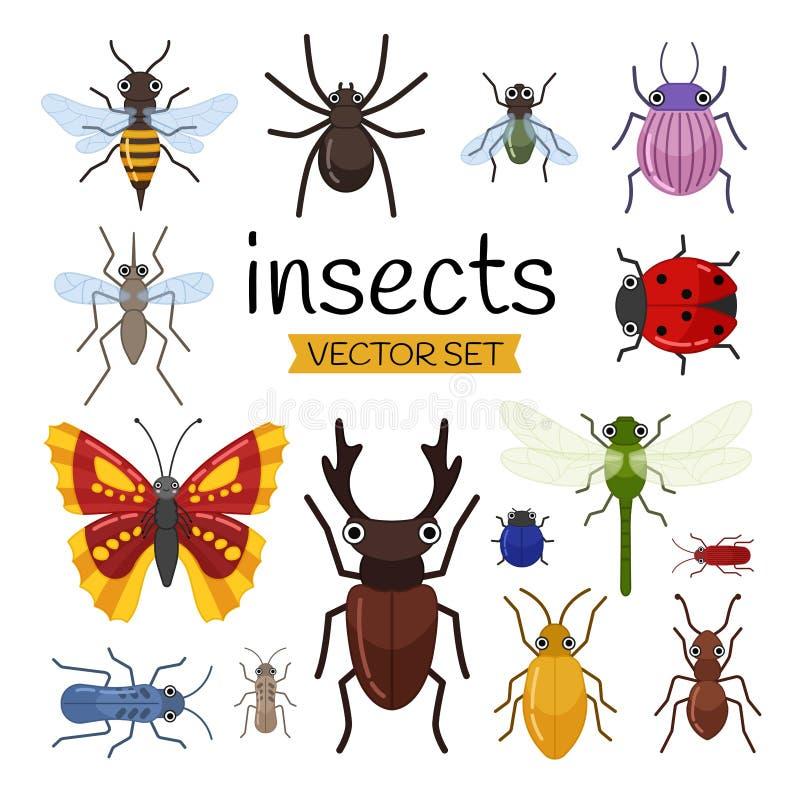 传染媒介套逗人喜爱的动画片昆虫 向量例证