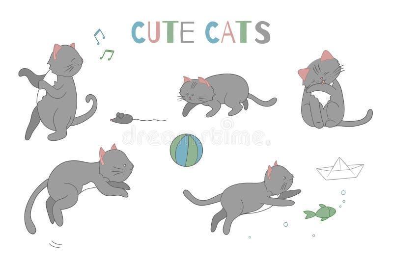 传染媒介套逗人喜爱的动画片样式猫用不同的姿势 皇族释放例证