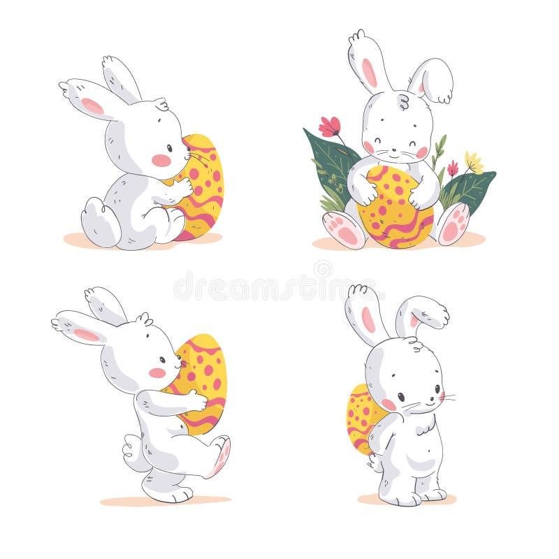 传染媒介套逗人喜爱的小的复活节兔子用在白色背景隔绝的复活节彩蛋 库存例证