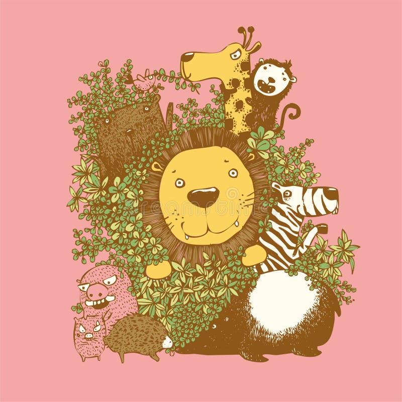 传染媒介套逗人喜爱的森林动物,野生动物,卡通人物,逗人喜爱的狂放的生活,传染媒介 皇族释放例证
