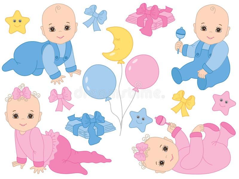 传染媒介套逗人喜爱的男婴和女婴 传染媒介婴儿送礼会 皇族释放例证