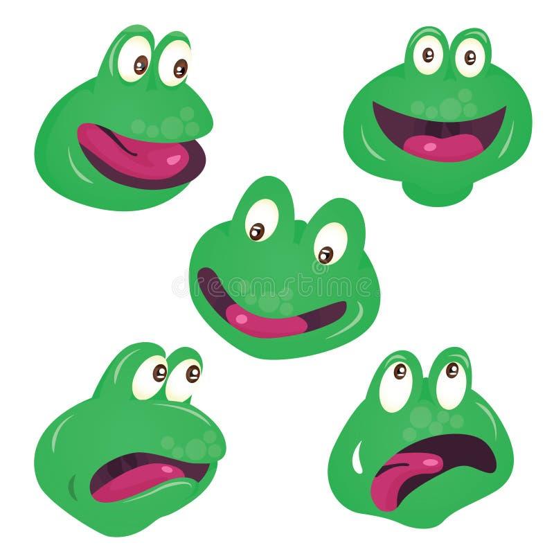 传染媒介套逗人喜爱的绿色微笑的青蛙面孔 向量例证
