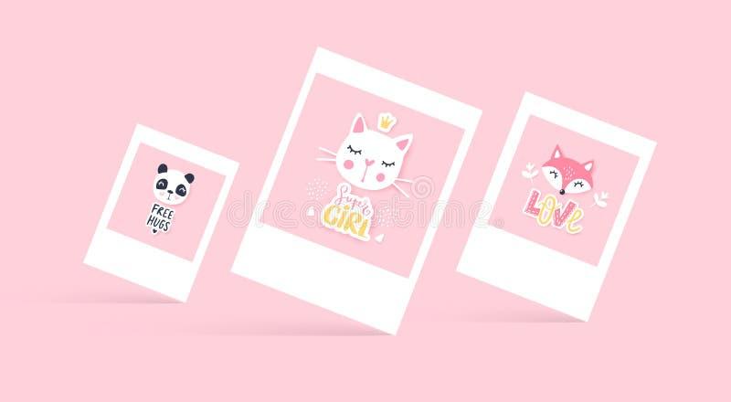 传染媒介套逗人喜爱的贺卡 动画片动物-熊猫,猫,狐狸 皇族释放例证