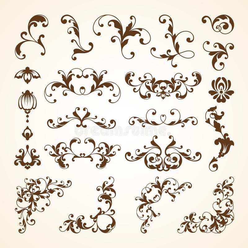 传染媒介套邀请的,样式,婚姻的模板葡萄酒装饰装饰页装饰书法设计元素 向量例证