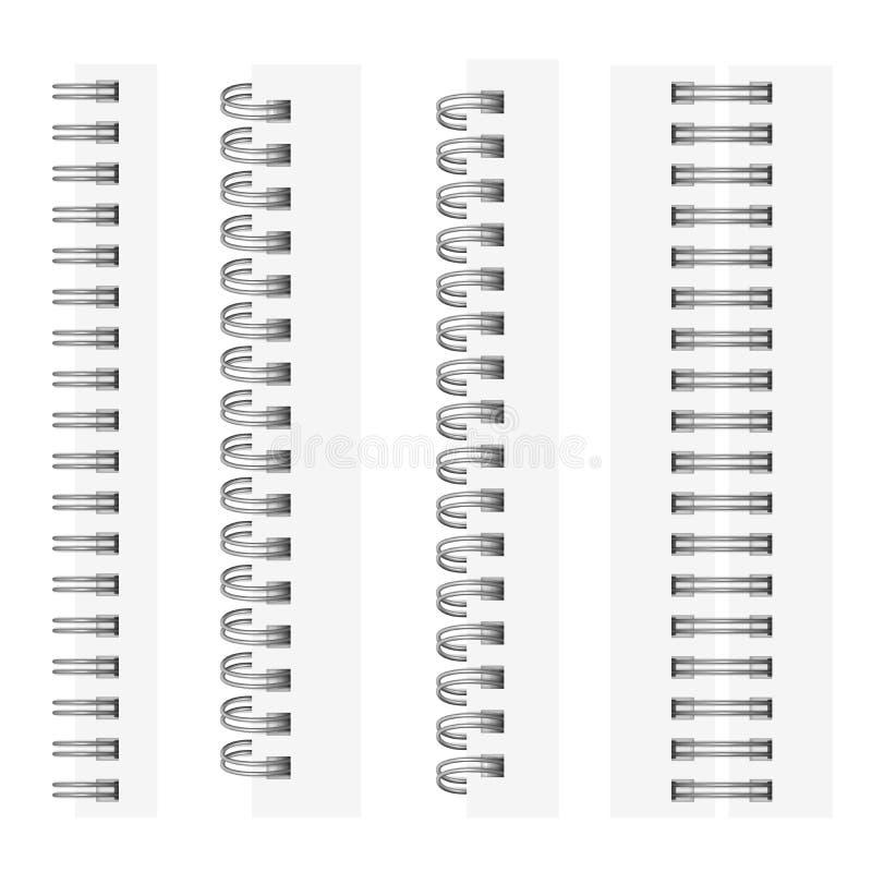 传染媒介套银色螺旋的现实图象笔记本的 皇族释放例证