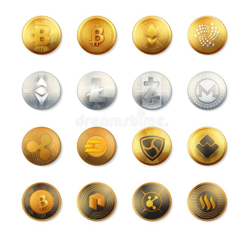 传染媒介套隐藏货币商标金子,银,古铜色硬币 隐藏货币铸造传染媒介汇集 隐藏货币bitcoin 向量例证