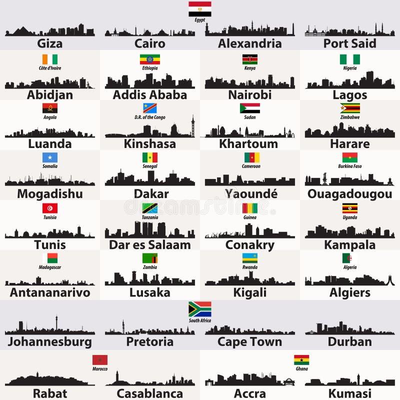 传染媒介套非洲城市抽象地平线剪影 库存例证