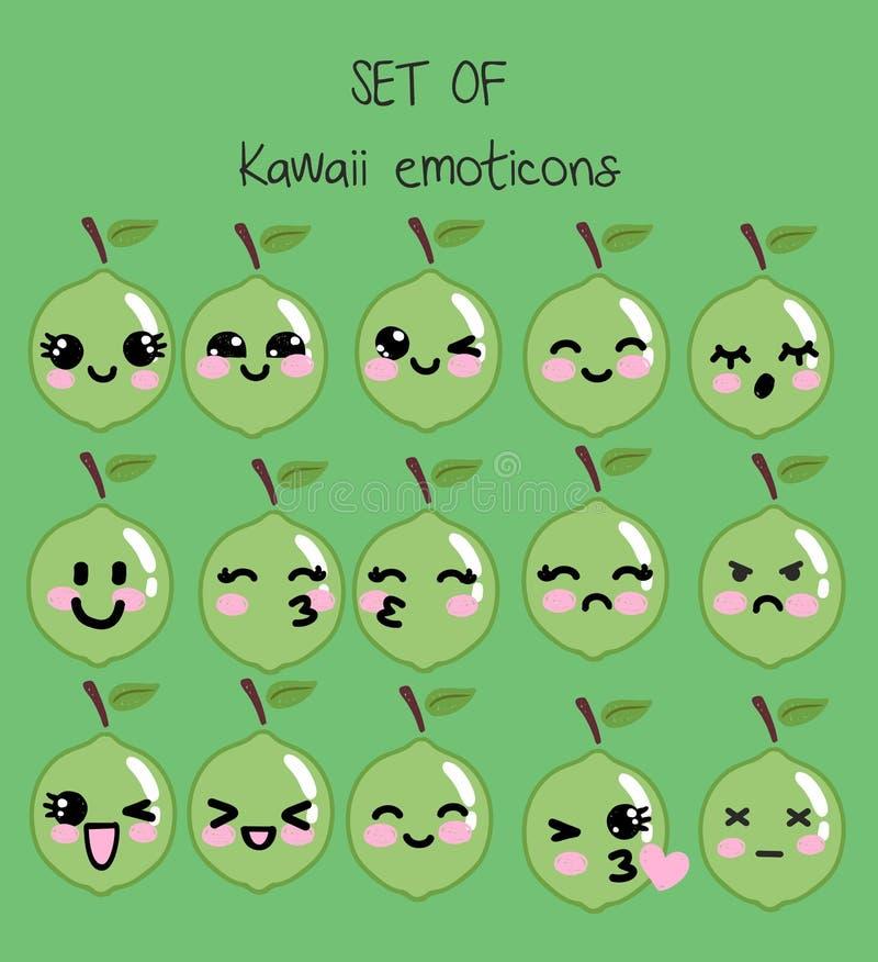 传染媒介套kawaii意思号,与面孔的逗人喜爱的石灰用不同的情感 向量例证